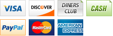 We accept Visa, Discover, Diners Club, Cash, PayPal, MasterCard and American Express.